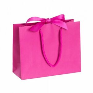 Luxury Magenta Boutique RibbonTie Gift Bag Rope Handles Paper Bags