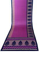 Vintage Violeta Rosa Sarees Tela de Seda Pura Manualidades Estampado Sari Arte