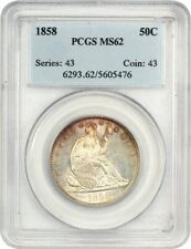 1858 50c PCGS MS62 - Flashy! - Liberty Seated Half Dollar - Flashy!