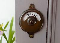 VACANT ENGAGED ANTIQUE FINISH TOILET BATHROOM LOCK BOLT INDICATOR DOOR HANDLES