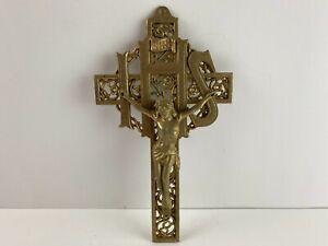 "Vintage Solid Brass Crucifix Catholic INRI IHS Wall Mount Jesus Cross, 9-1/2"""