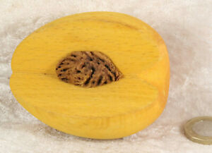 wooden peach with exposed real stone faux fruit handmade collectable