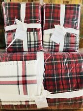 Pottery Barn EASTON PLAID PATCHWORK King QUILT Euro SHAMS Christmas New Bedding