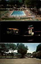Cactus Motor Lodge Route 66 Tucumcari New Mexico ~ pool 1950s cars night neon