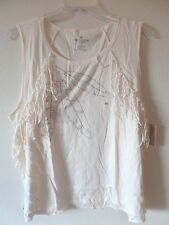 AE American Eagle XXL Cream Muscle Tank Top Shirt Feather Print Fringed New