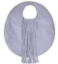 Round Handbag Purse Long Fringe Faux Leather Unique Design Blue Gray Heather New