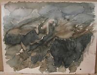 """Horst Heinen (1927-2001) Aquarell """"Bergige Landschaft mit Bäumen im Vordergrund"""