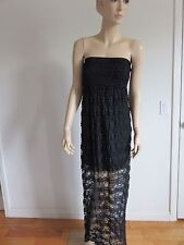 552f926547779 EVERLEIGH BLACK LACE SMOCKED STRAPLESS FESTIVE CLUB SUMMER MAXI DRESS SIZE  XS/S