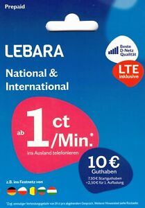 Lebara Mobile Prepaid Sim-Karte inkl. 7,50€+2,50€ Startguthaben Telekom D Netz