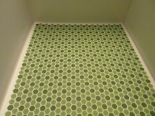 More details for dolls house miniature 1:12th kitchen bathroom green hexagon embossed flooring