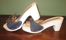 "Women's Vintage ""Tagged"" TOMMY HILFIGER White Wood Casual Shoes-Size 9 1/2M"