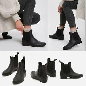 Ladies Chelsea Boots Womens Ankle Wellies Wellington Matt Rain Snow Shoes Size
