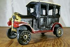 VINTAGE STYLE CAST IRON TOY: BLACK CAR WITH RED ACCENTS: EXCELLENT CONDITION
