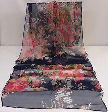 Scarf,Shawl,Wrap - Navy Floral