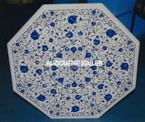 """20"""" Marble Coffee Table Top Marquetry Lapis Lazuli Inlay Floral Home Decor H3122"""