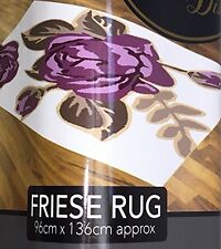 Friese Curved White Purple Flower Style Runner Rug Mat Dirt Stopper