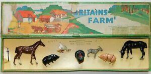 Old BRITAINS England, 1950s Lead Farm Animals Set, 7 Piece Boxed Set #123F