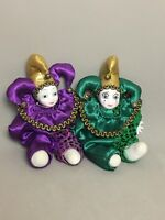 """Pair Of Collectible 8"""" Green Purple Clown Jester Figurine Porcelain Plush Doll"""