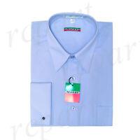 New Men's Light Blue French Cuff long sleeve formal cotton blend dress shirt
