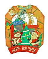 CANDY SHOP Happy Holidays 3D Wooden Wall Plaque Santa Clause Elf Snowman Tree