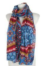 Schöner Schal  Tuch von s.Oliver Töne blau rot 100% Baumwolle