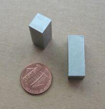 """Lot (2) Aluminum Alloy Rectangular Bar Stock Pieces ~11/32 x 3/8"""" x ~1"""" Long"""