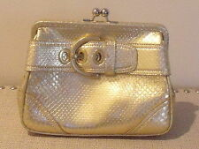 vgc COACH GOLD snakeskin embossed leather FRAME CLUTCH PURSE with buckle