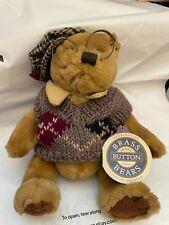 "Brass Button Bears Sherwood Plush 11"" Bear in Sweater w/ Glasses Stuffed Animal"