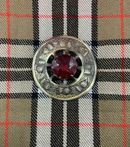 Kilt Fly Plaid Brooch Thistle Design Red Stone Highland Kilt Antique Brooches