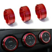 Red Aluminum AC Climate Control Knob Ring Covers For Subaru Impreza WRX Forester