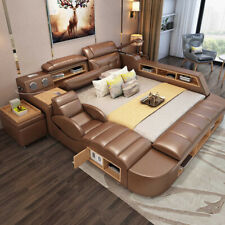 Multifunctional Bed, King/Queen, Brown Leather, Bed Frame Only, New