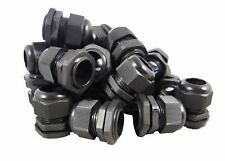 """50 Pack) 1/2"""" Black Nylon Cable Glands Strain Relief WIth Gasket and Lock-Nut"""