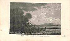 Cloud Nuages Stratus Cumulus Cirrus Nimbus  GRAVURE ANTIQUE PRINT 1883
