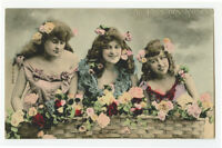c 1910 Glamour THREE FRENCH BEAUTIES Pretty Young Lady pinup photo postcard