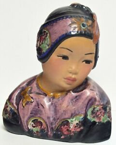 """AUTHENTIC ANTIQUE ESTHER HUNT """"LOTUS BUD"""" ~ 1921 POLYCHROME CHALKWARE BUST"""