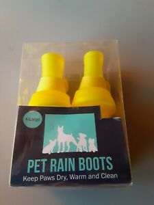 Yellow X-Large Reuasable Silicone Pet Rain Boots
