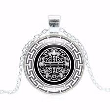 Collar de plata de cadena de cabujón de Cristal Colgante Mandala