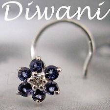 Real Iolite & Diamond Flower 14kGold Wedding Nose Piercing Jewelry Ring Stud Pin