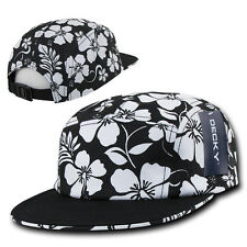 Black & White Floral Hawaiian 5 Panel Cotton Racer Jockey Flat Bill Cap Hat Hats
