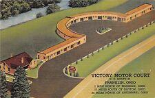 Ohio Postcard Linen FRANKLIN Victory Motor Court US ROute 25 Roadside
