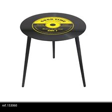 TABLE APPOINT BASSE RONDE RETRO DISQUE VINYLE VERRE ET METAL SALON DESIGN 603