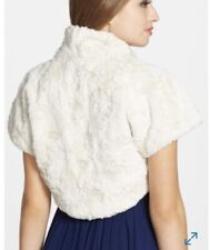 Beautiful Eliza J Faux Fur Caplet Bolero Jacket Shawl IVORY XL 1X