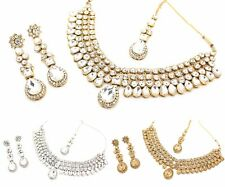 KUNDAN NECKLACE EARRING JEWELLERY SET WEDDING PARTY PEARL ANTIQUE NECKLACE SET 1