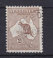 K743) Australia 1913 2/- Brown 1st wmk. Kangaroo, Melbourne CTO ACSC 35A