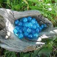 50 Perles de Bohème en verre craquelée 8<9 mm (Bleu)