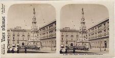 Naples Colonne Napoli Italie Italia Stéréo Vintage argentique ca 1910