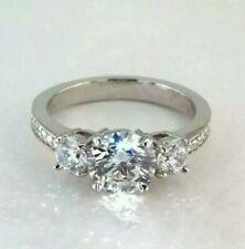 2.36Ct Three Stone Round Moissanite Wedding Engagement Ring Solid 14k White Gold