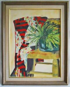 Painting Allegorical Modernism Furniture Vintage Still Life Chair Fabric Reed