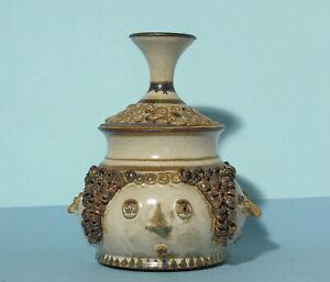 Bjørn Wiinblad inspired four faced lidded urn - possibly 1970s