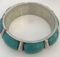 Turquoise  Bangle Silver Clad  Vintage Bracelet